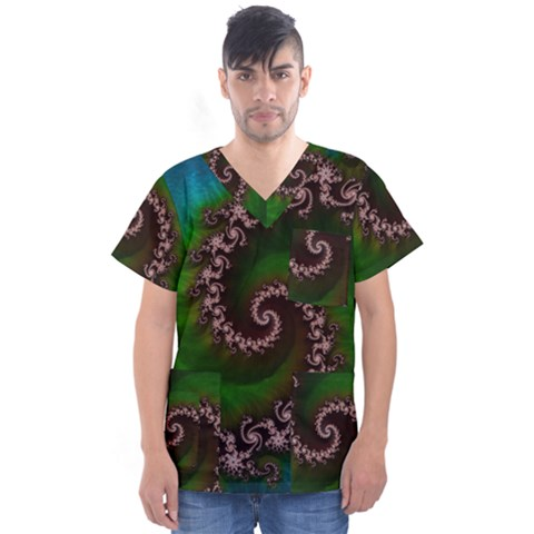 Benthic Saltlife Fractal Tribute For Reef Divers Men s V-neck Scrub Top by jayaprime