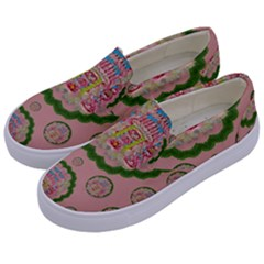 Sankta Lucia With Friends Light And Floral Santa Skulls Kids  Canvas Slip Ons by pepitasart