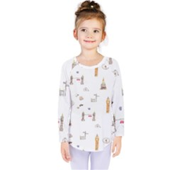 Graphics Tower City Town Kids  Long Sleeve Tee