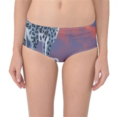 Lion Tigel Chetah Animals Snow Moon Blue Sky Mid Waist Bikini Bottoms