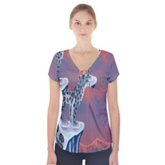 Lion Tigel Chetah Animals Snow Moon Blue Sky Short Sleeve Front Detail Top