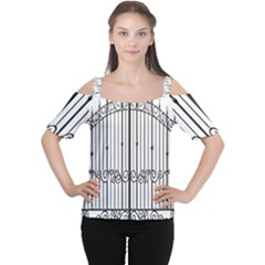 Inspirative Iron Gate Fence Cutout Shoulder Tee