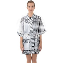 Inspirative Iron Gate Fence Quarter Sleeve Kimono Robe by Alisyart
