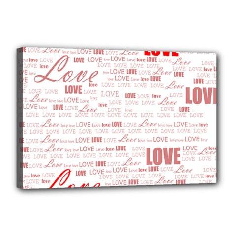 Love Heart Valentine Pink Red Romantic Canvas 18  X 12  by Alisyart