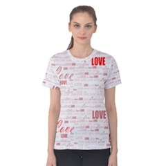 Love Heart Valentine Pink Red Romantic Women s Cotton Tee