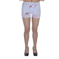 Love Heart Valentine Pink Red Romantic Skinny Shorts by Alisyart