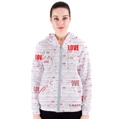Love Heart Valentine Pink Red Romantic Women s Zipper Hoodie