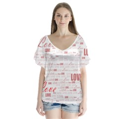 Love Heart Valentine Pink Red Romantic V Neck Flutter Sleeve Top