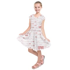 Love Heart Valentine Pink Red Romantic Kids  Short Sleeve Dress by Alisyart
