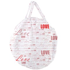 Love Heart Valentine Pink Red Romantic Giant Round Zipper Tote