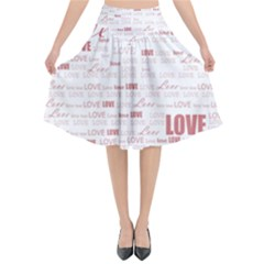 Love Heart Valentine Pink Red Romantic Flared Midi Skirt
