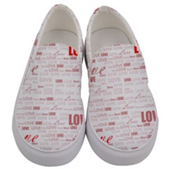 Love Heart Valentine Pink Red Romantic Men s Canvas Slip Ons