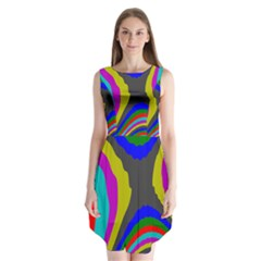 Pattern Rainbow Colorfull Wave Chevron Waves Sleeveless Chiffon Dress
