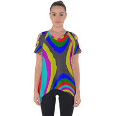 Pattern Rainbow Colorfull Wave Chevron Waves Cut Out Side Drop Tee