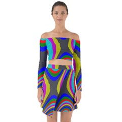 Pattern Rainbow Colorfull Wave Chevron Waves Off Shoulder Top With Skirt Set
