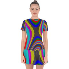Pattern Rainbow Colorfull Wave Chevron Waves Drop Hem Mini Chiffon Dress