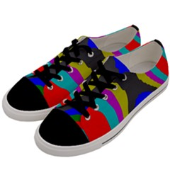 Pattern Rainbow Colorfull Wave Chevron Waves Men s Low Top Canvas Sneakers by Alisyart