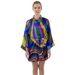 Pattern Rainbow Colorfull Wave Chevron Waves Long Sleeve Kimono Robe