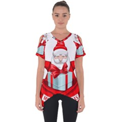 Merry Christmas Santa Claus Cut Out Side Drop Tee