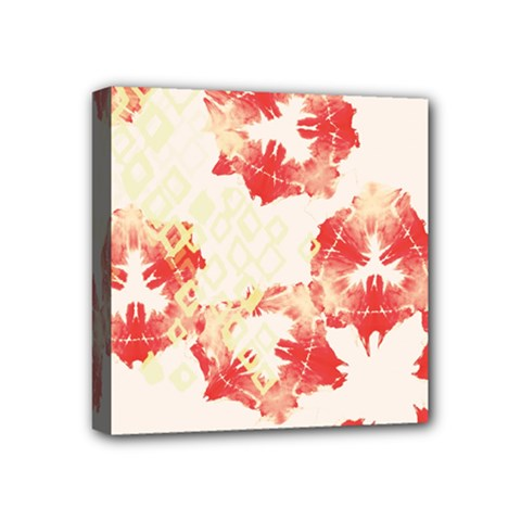Pattern Flower Red Plaid Green Mini Canvas 4  X 4