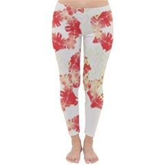 Pattern Flower Red Plaid Green Classic Winter Leggings