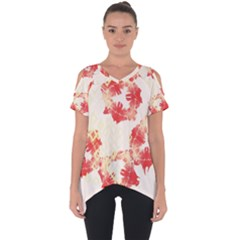 Pattern Flower Red Plaid Green Cut Out Side Drop Tee