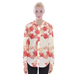 Pattern Flower Red Plaid Green Womens Long Sleeve Shirt