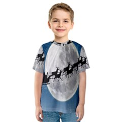 Santa Claus Christmas Fly Moon Night Blue Sky Kids  Sport Mesh Tee