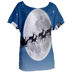 Santa Claus Christmas Fly Moon Night Blue Sky Women s Oversized Tee