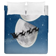 Santa Claus Christmas Fly Moon Night Blue Sky Duvet Cover Double Side (queen Size)