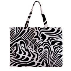 Psychedelic Zebra Pattern Black Mini Tote Bag