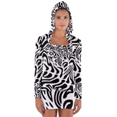 Psychedelic Zebra Pattern Black Long Sleeve Hooded T Shirt