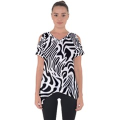 Psychedelic Zebra Pattern Black Cut Out Side Drop Tee