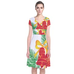 New Year Christmas Bells Tree Short Sleeve Front Wrap Dress