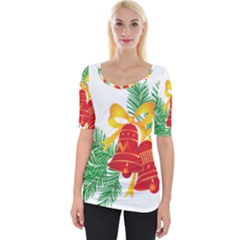 New Year Christmas Bells Tree Wide Neckline Tee by Alisyart