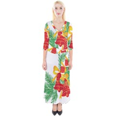 New Year Christmas Bells Tree Quarter Sleeve Wrap Maxi Dress by Alisyart