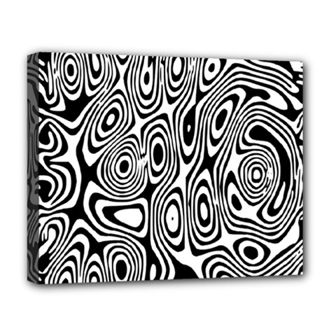 Psychedelic Zebra Black Circle Deluxe Canvas 20  X 16