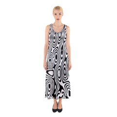 Psychedelic Zebra Black Circle Sleeveless Maxi Dress