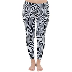 Psychedelic Zebra Black Circle Classic Winter Leggings