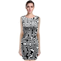 Psychedelic Zebra Black Circle Classic Sleeveless Midi Dress