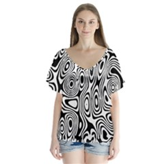 Psychedelic Zebra Black Circle V Neck Flutter Sleeve Top