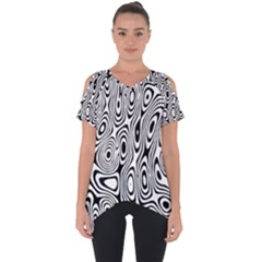 Psychedelic Zebra Black Circle Cut Out Side Drop Tee