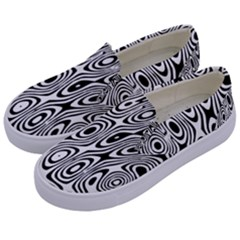 Psychedelic Zebra Black Circle Kids  Canvas Slip Ons by Alisyart