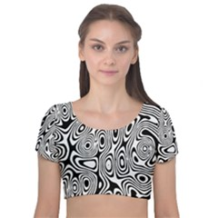 Psychedelic Zebra Black Circle Velvet Short Sleeve Crop Top