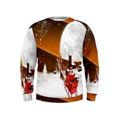 Santa Claus Christmas Moon Night Kids  Sweatshirt