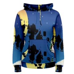 Santa Claus Christmas Sleigh Flying Moon House Tree Women s Pullover Hoodie