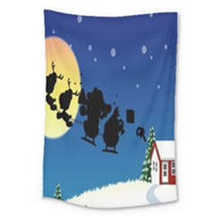 Santa Claus Christmas Sleigh Flying Moon House Tree Large Tapestry