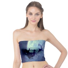 Santa Claus Christmas Night Moon Happy Fly Tube Top by Alisyart