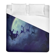 Santa Claus Christmas Night Moon Happy Fly Duvet Cover (full/ Double Size) by Alisyart