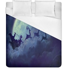 Santa Claus Christmas Night Moon Happy Fly Duvet Cover (california King Size) by Alisyart
